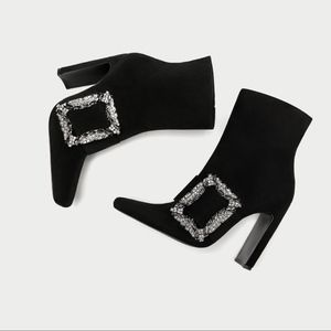 ZARA 100% LEATHER  HIGH HEEL ANKLE BOOTS